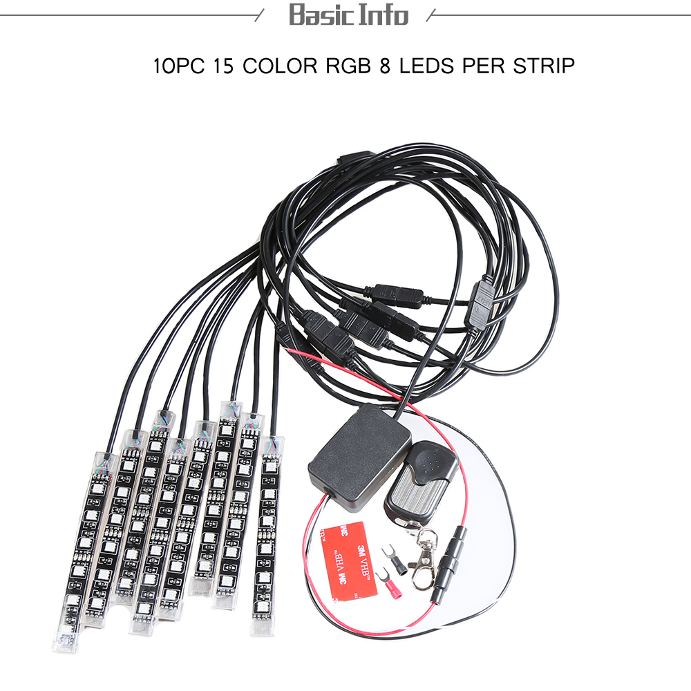 Multi-color Remote Control Motorcycle Water-resistance 10pcs Glow Light 8 LED Atmosphere Lamp uwinka mc u6c multi in 1 water resistance shockproof memory card storage box red