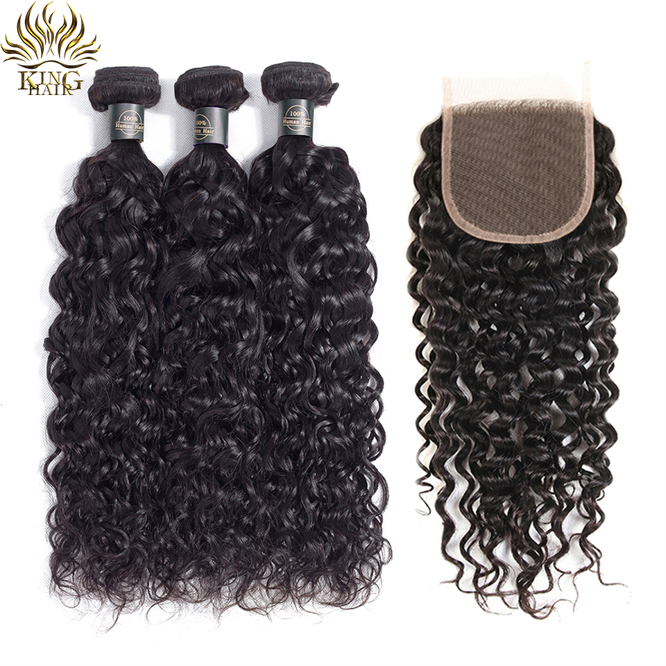 King Hair Peruvian Water Wave Bundles With Closure Remy Hair Lace Closure With Bundles Deal Human