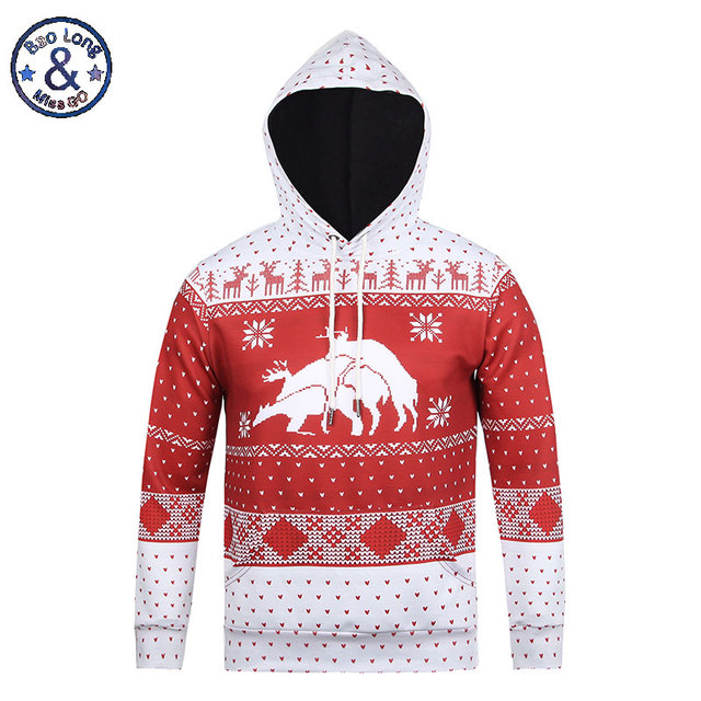 New Arrival Christmas Sweatshirt 3D Print Merry Christmas Deer/Tree Digital Printing Crew Neck Men Women Casual Pullover Hoodies
