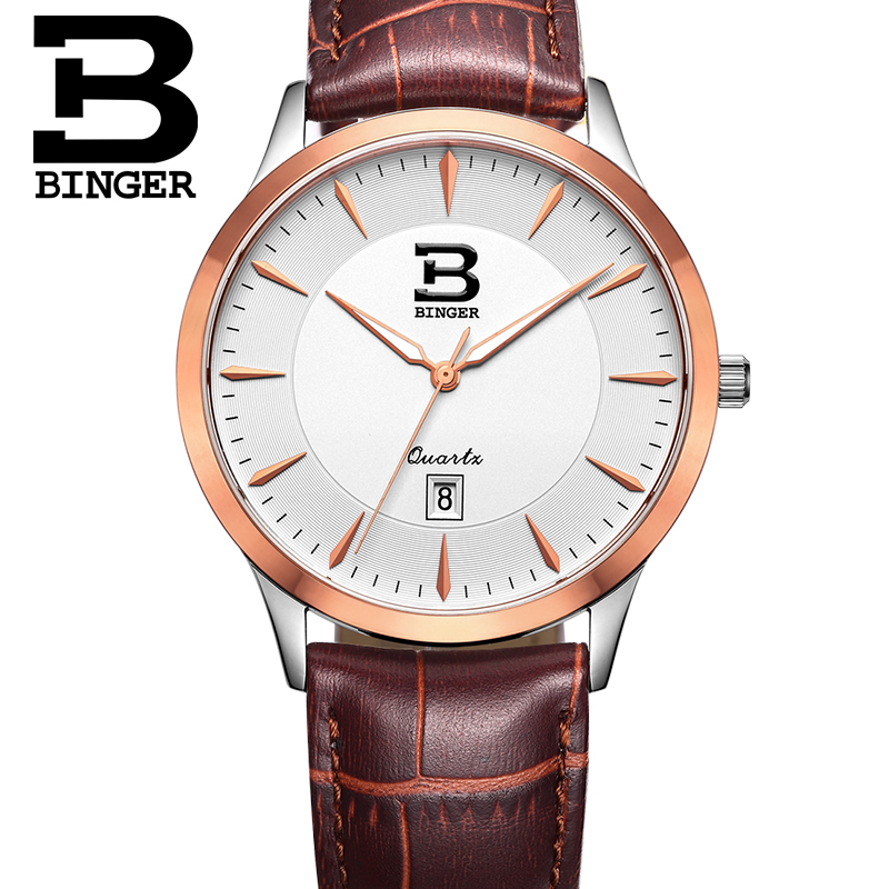 Elegant England Wind Men Business Dress Watches Japan Quartz Calendar Lovers Analog Wristwatch Simple Real Leather Strap Watch