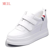 Spring Autumn White Women Platform Sneakers High Heels 8 Cm Trainers Wedge Shoes Woman Plataforma Sneaker