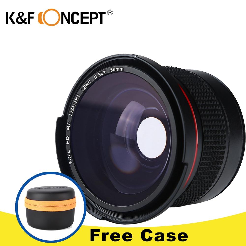 K&F CONCEPT HD 0.35x 58mm/52mm Fisheye Macro Wide Angle Lens for Canon EOS 700D 650D 600D 550D Rebel T5i T4i T3i T2i DSLR Camera