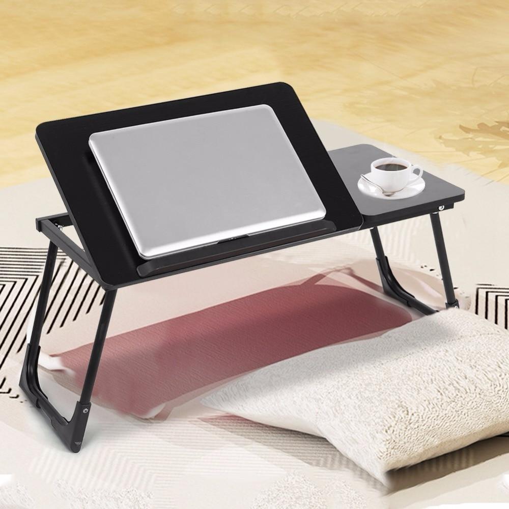 Table de bureau d'ordinateur portable en bois pliable plateau de service de lit de petit déjeuner réglable