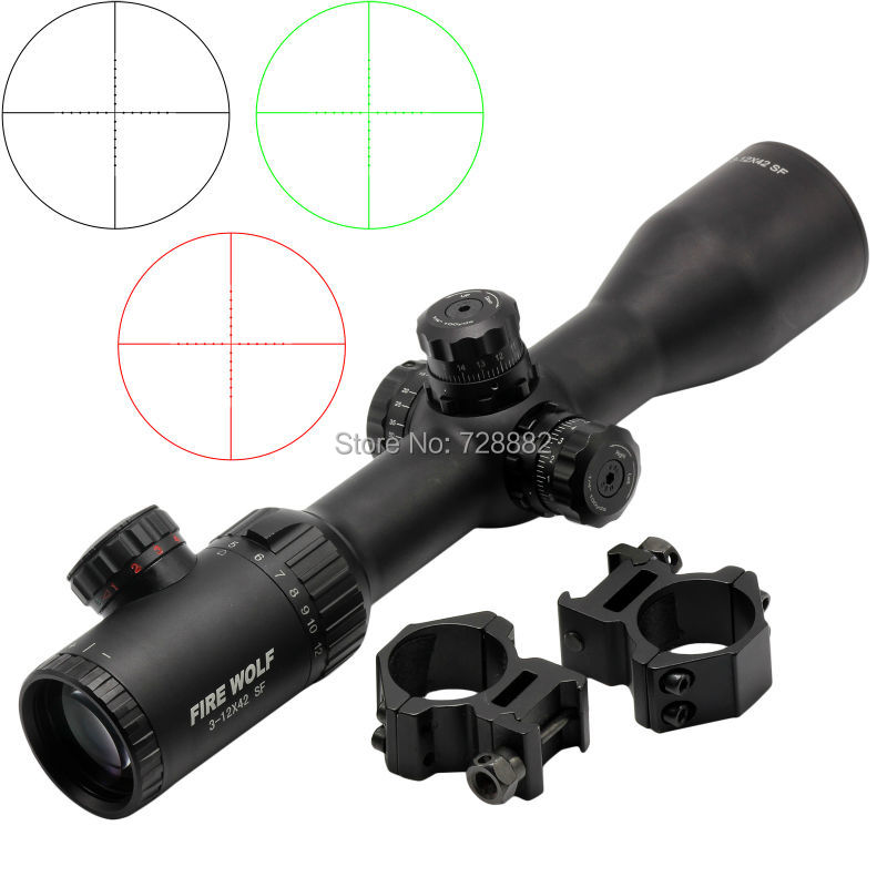 Firewolf Riflescope 3-12X42 SF Illuminated Red Green Dot Optical Rifle Scope Mil Dot Reticle For Hunting Shooting 4x 30mm red green mil dot reticle rifle scope with gun mount black 3 x ag13 1 x cr2032