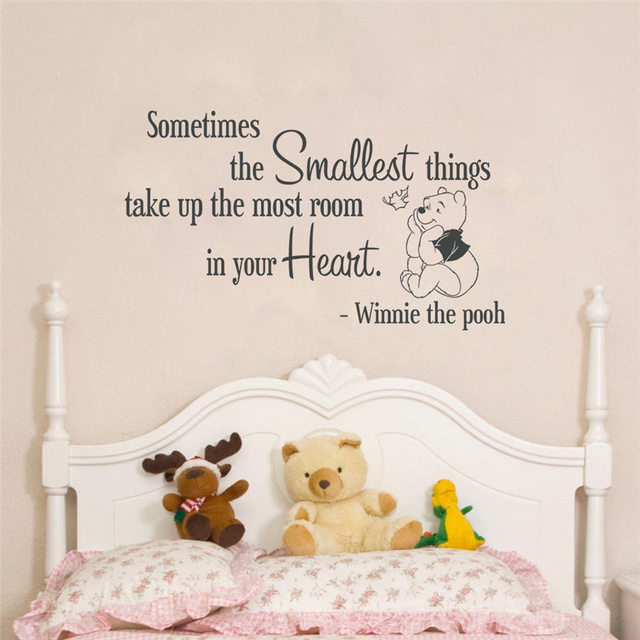 Quote Winnie Pooh Wall Decal Lettering Bedroom Sticker Home Decor Cartoon Cute