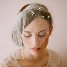Promotion Best Sale Elegant Tulle Pearls Bridal font b Hats b font Face Veil Fascinators Headpiece