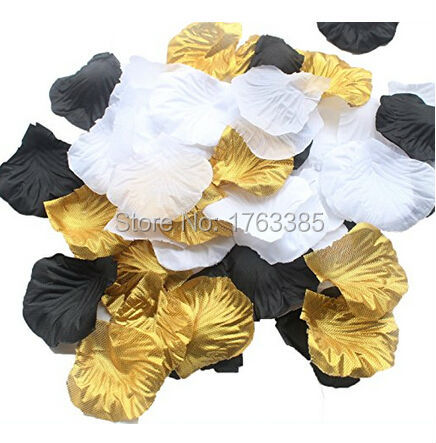 Mixed Whitegoldblack Silk Rose Petals Artificial Flowers Wedding