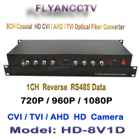 1080P HD 2MP video AHD CVI TVI Fiber optical converter, 8 CH video fiber optic transmitter