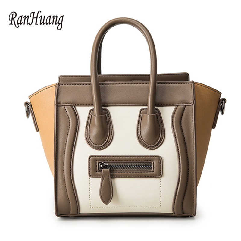 ФОТО RanHuang 2017 Women Cute Smiley Face Handbags High Quality PU Leather Handbags Ladies Designer Shoulder Bags Messenger Bags