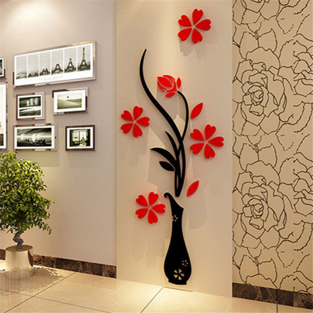 Arcylic Vase Plum Flower Wall Stickers Living Room Tv Background 3d  -> Sala De Tv Irregular
