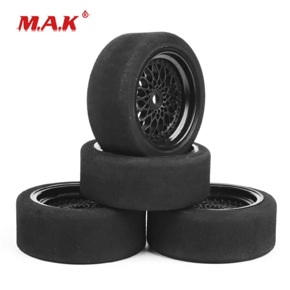 1/10 Scale Sponge Tires And Wheel Rims With 3mm Offset And 12mm Hex Fit RC HSP HPI On-Road Racing Car Model Toys Accessory
