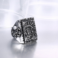 Punk Biker Heavy Indian Chief Sale 316L Stainless Steel Ring Vintage Men Jewelry Wholesale Free Shipping