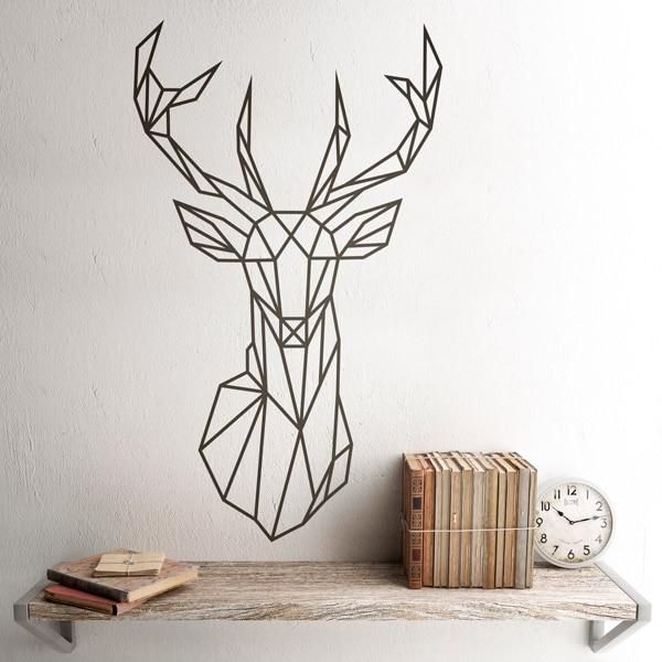 Wall Sticker Origami Geometric Deer Head Polygonal Decal | Antlers Hunting A441