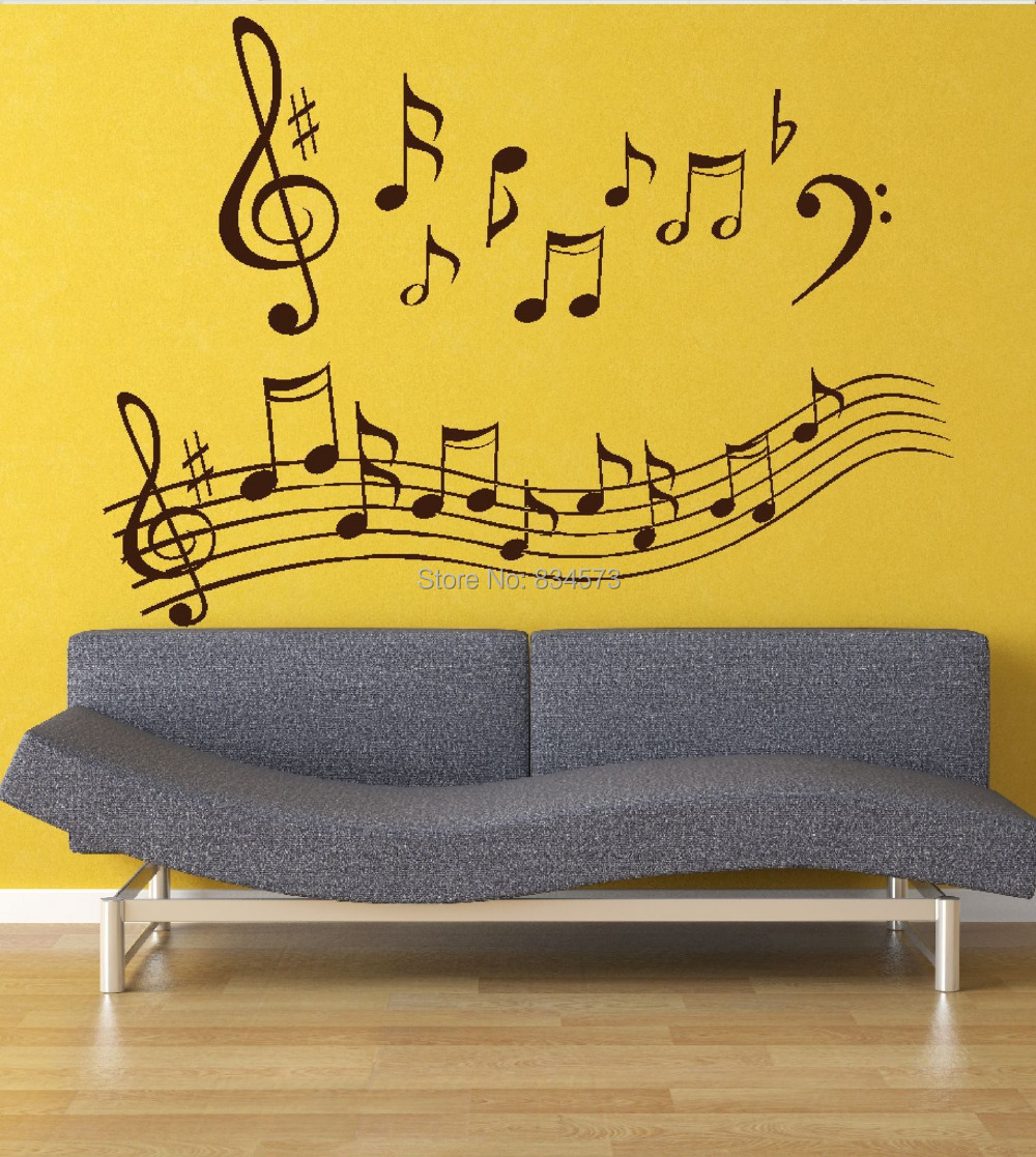 Hot Wonderful Music Notes Wall Art Stickers Wall Decal DIY Home ...