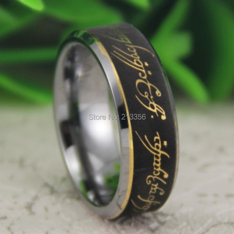 cheap price free shipping usa canada hot selling 8mm bevel the lord one ring the lotr super mens fashion tungsten wedding ring - Lord Of The Rings Wedding Ring