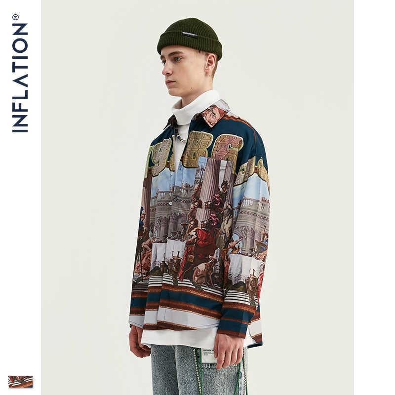 אינפלציה Mens דיגיטלי הדפסת חולצת גברים Harajuku היפ הופ חולצה ארוך שרוול חולצות Streetwear גדול גברים מותג חולצה 92143W