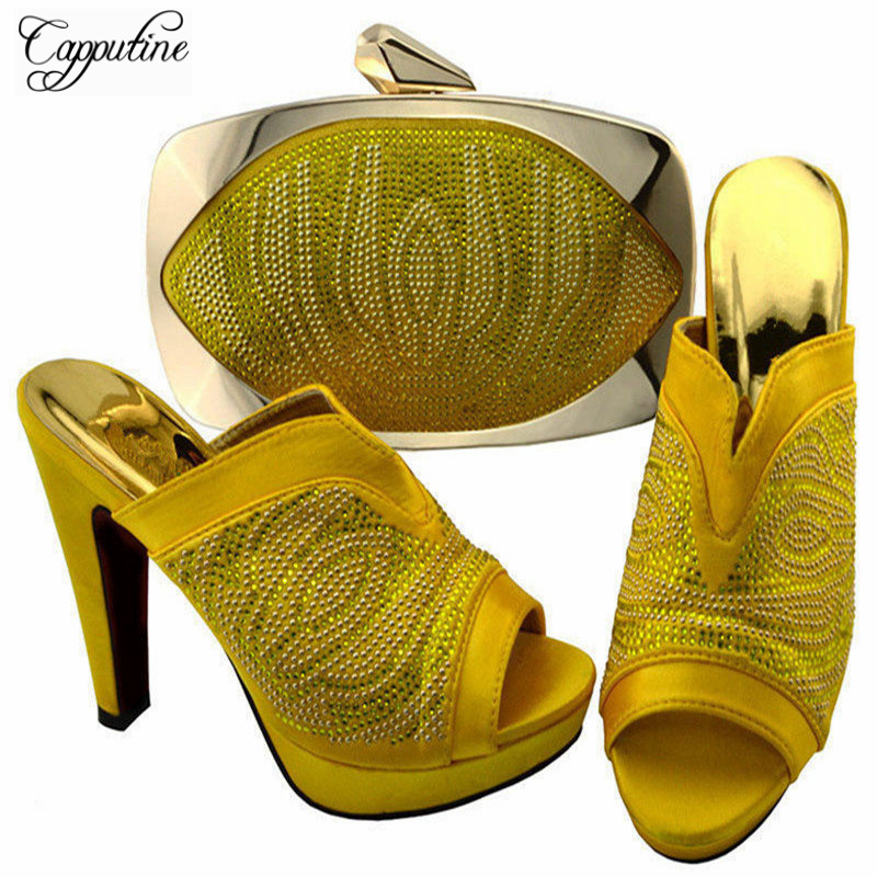 Capputine Africa Style Shoes And Bag Set Fashion Woman High Heels Pumps Shoes And Bag Set For Party Free Shipping BCH-27  africa style pumps shoes and matching bags set fashion summer style ladies high heels slipper and bag set for party ths17 1402