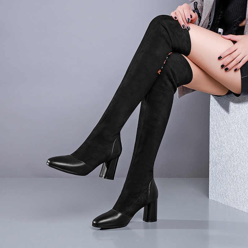 Nouvelles femmes hiver haute couture sur le genou daim broder bout pointu noir Slim bottes femme bureau formel cuissardes bottes