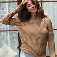 Женский сексуальный свитер с открытыми плечами, водолазка, вязаный свитер, трикотажный топ, Femme, Красный Белый пуловер, тонкий свитер с высоким воротом, женский свитер