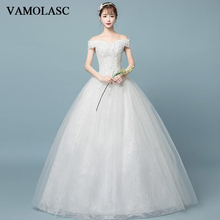 VAMOLASC Sequined Boat Neck Lace Appliques Ball Gown Wedding Dresses Off The Shoulder Backless Bridal Gowns