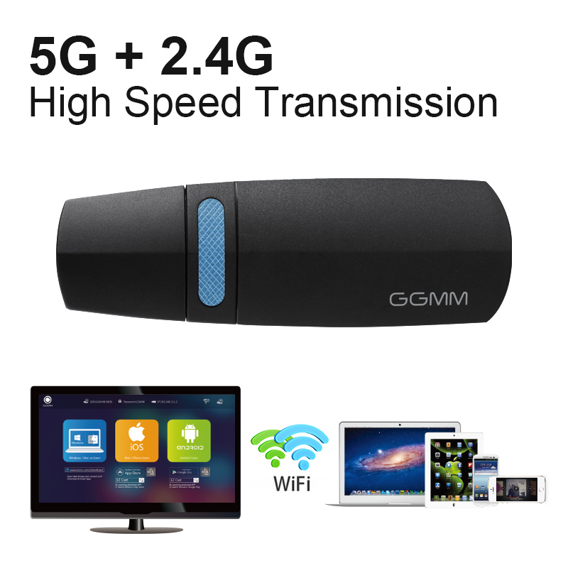 GGMM Mini HDMI Dongle TV bâton HD 1080P sans fil WiFi Dongle affichage Miracast prise en charge 5G/2.4G AirPlay DLNA pour vidéo YouTube etc