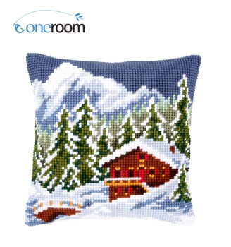 CX0815 Snow Scenery 02 Acrylic Yarn Embroidery Pillow Tapestry Cushion Front Cross Stitch Pillowcase