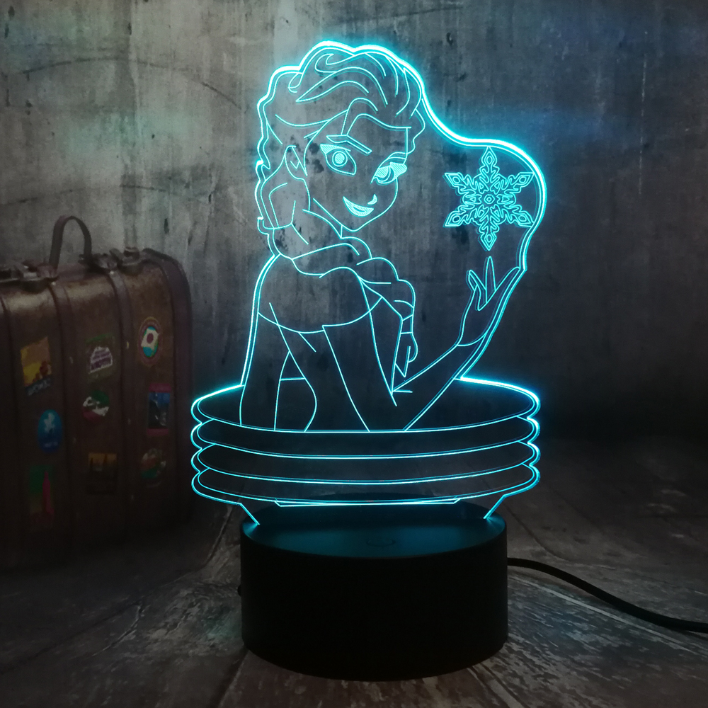 Beautiful Queen Elsa 3D Visual Lamp Illusion Desk LED Night Light Snow Elsa Toys Home Decor Girl Baby Birthday Christmas Gifts