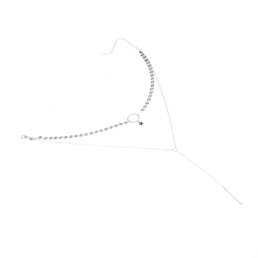 HTB1VSSwPpXXXXXoapXXq6xXFXXXZ 2 Layer Star Sequins Choker And Long Tassel Chain Necklace