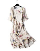 Ink and ink landscape printed pure silk dress with long size round neck and medium sleeve mulberry silk dress