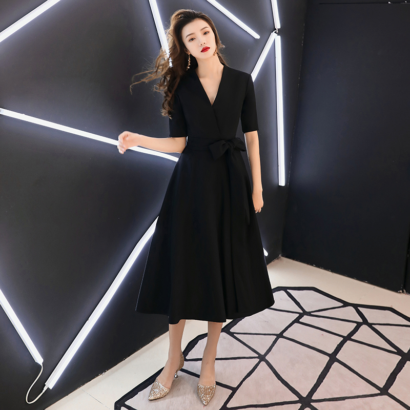 2019 Black Women Sexy Evening Dresses V-Neck Short Sleeve Casual Midi Party Dress Robe De Soiree LYFY79