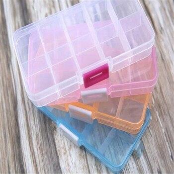 1PCS Adjustable 10 grid transparent storage box