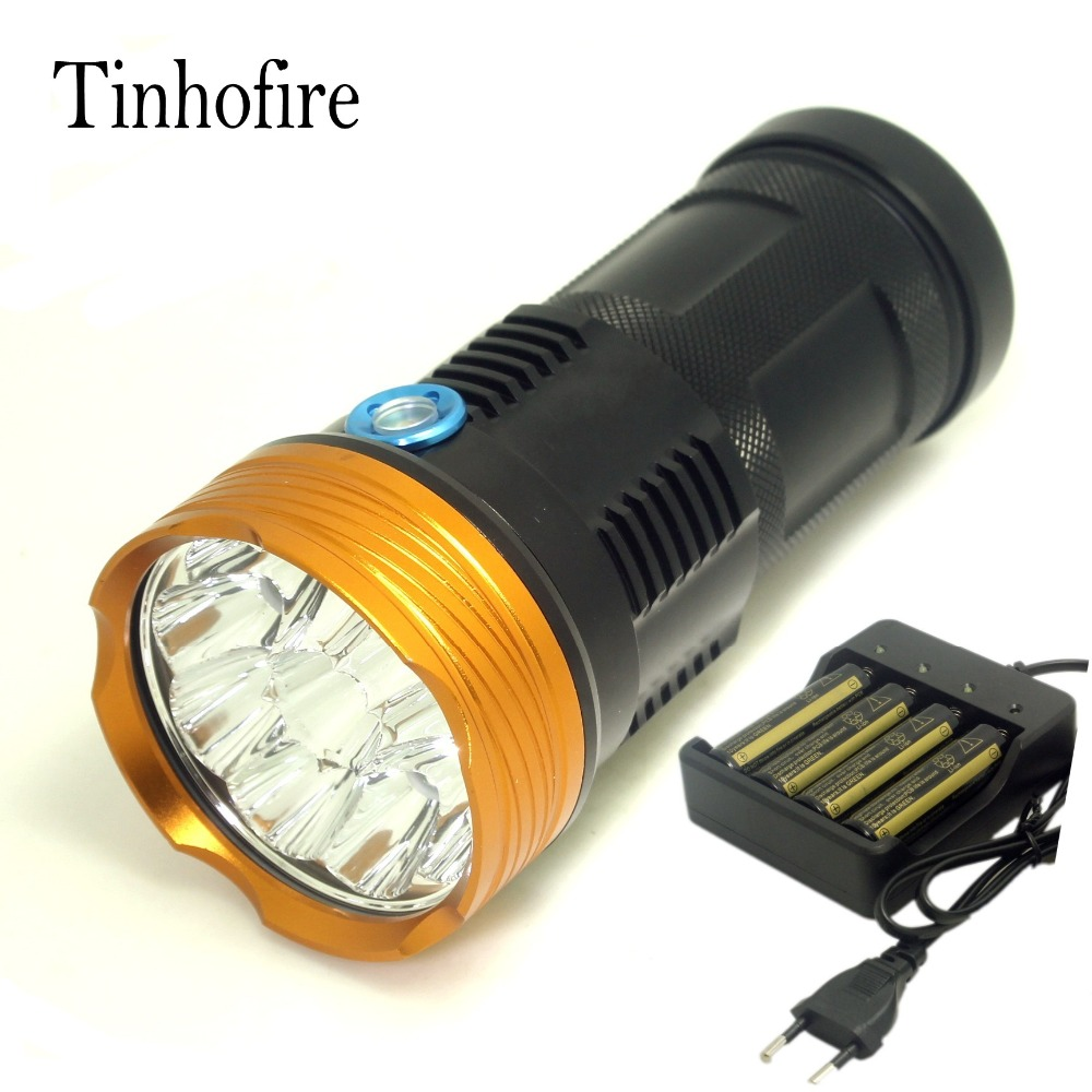 Tinhofire 20000 lumens light King 10T6 LED flashlamp 10 x CREE XM-L T6 LED Flashlight Torch Lamp Light with 4 battery charger new 20000 lumens high power 10t6 led 10 x cree xm l t6 led flashlight torch lamp light lantern with 4 batteries