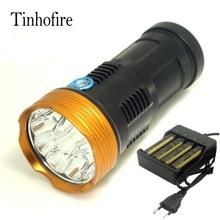 Rey 10t6 tinhofire 20000 lúmenes de luz led flashlamp 10 x cree xm-l t6 led linterna antorcha lámpara de luz con 4 cargador de batería