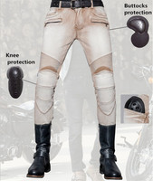 Uglybros Summer light colored jeans motorcycle racing cross country knee protection pants Harley locomotive men's moto pants