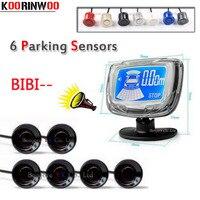 KOORINWOO Car Parking Sensor 6 front and back sensor Car Parking Sensor LCD Monitor Beep alarm parktronic system Jalousie blind