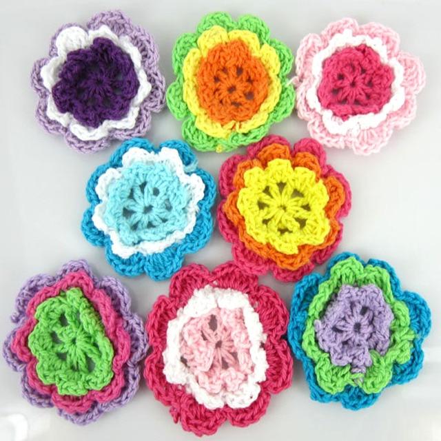 "10pcs Crochet Flowers handmade  Acrylic Soft  Appliques DIY mixed colors 2/""-2.8/"""