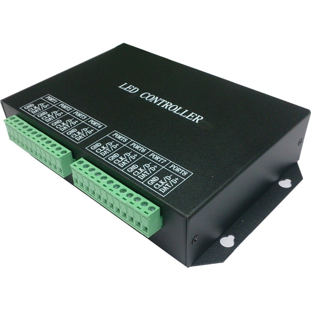 H801RC;8 ports salve LED pixel controller;work with computer network or marster controller(H803TV or H803TC)drive 8192 pixels k 8000g sd card led pixel controller off line spi signal output controlling 8192 pixels can choose ic type by using the button