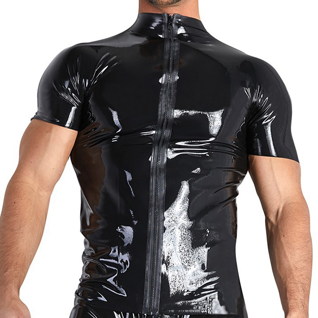 Zipper Open Patent Leather Slim Mens Sexy T Shirts Punk Muscle Sexy PVC Shiny Male Tee Top Shirts Black Stretch T-shirts For Man