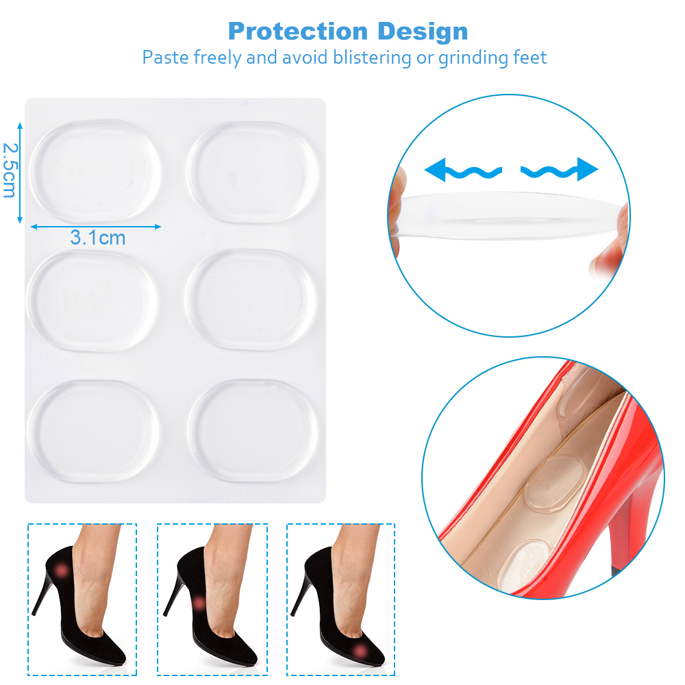 4Pcs Silicone Heel Stickers Transparent Self-adhesive Round Stickers Insoles Pad