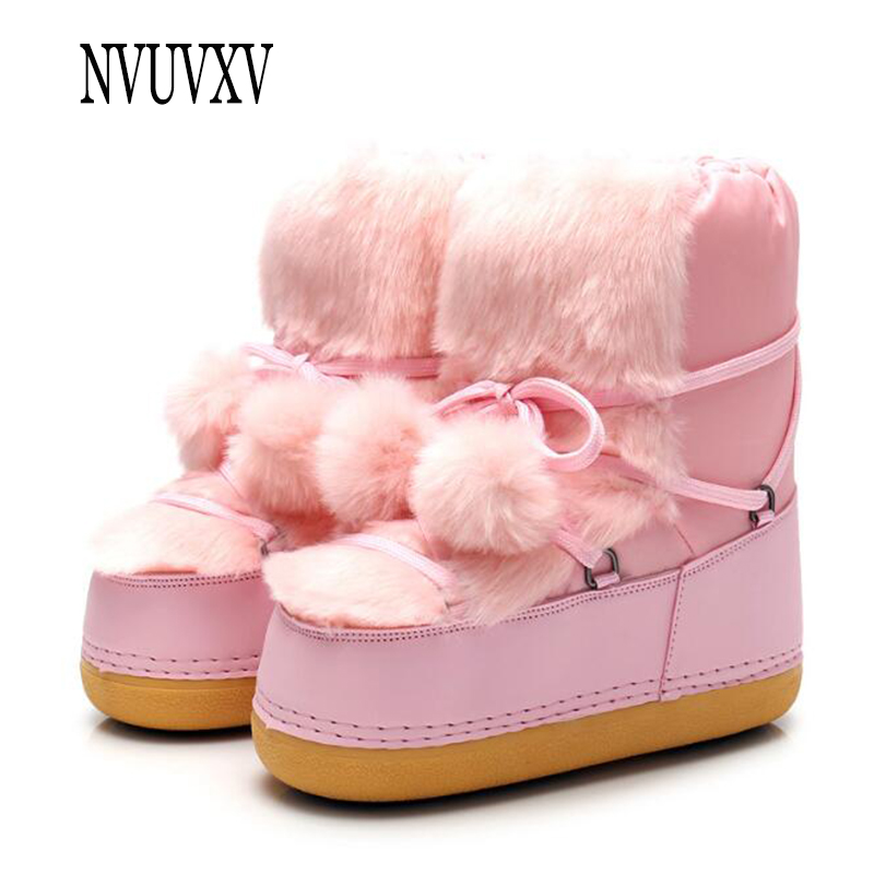Plus velvet space boots fashion snow boots lovely hairball woman boots Keep  warm flat boot Non 2ff3bcf0e5d2