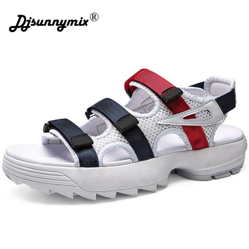 DJSUNNYMIX 2018 Unisex Casual Sandals Shoes Fashion Breathable Mesh Shoes Summer Men Sandals black white color