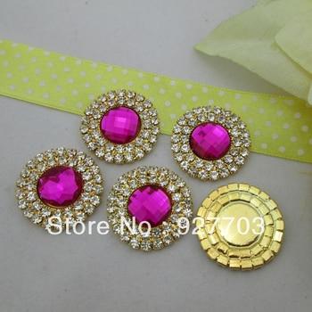 (CM473 25mm)100pcs Fuchsia Acrylic Crystal Rhinestone Round Diamante Cluster For Gift DIY Craft