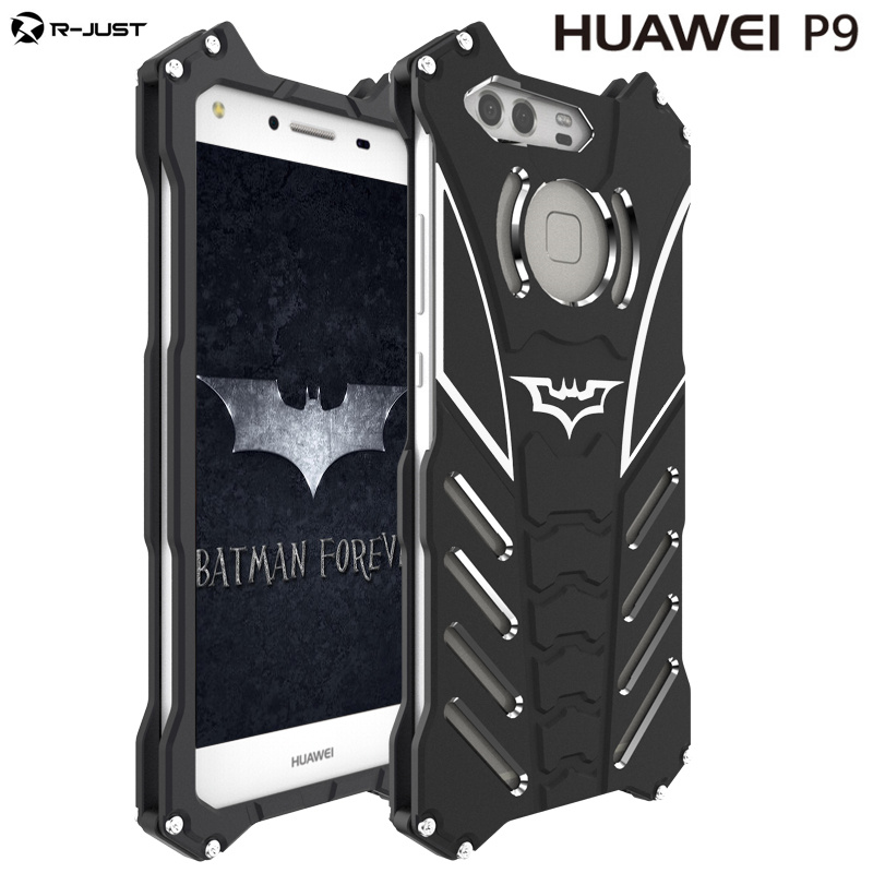 R-JUST For HUAWEI P9 plus case Armor Heavy Dust Metal Aluminum BATMAN protect Skeleton head phone bag cases cover+BATMAN bracket
