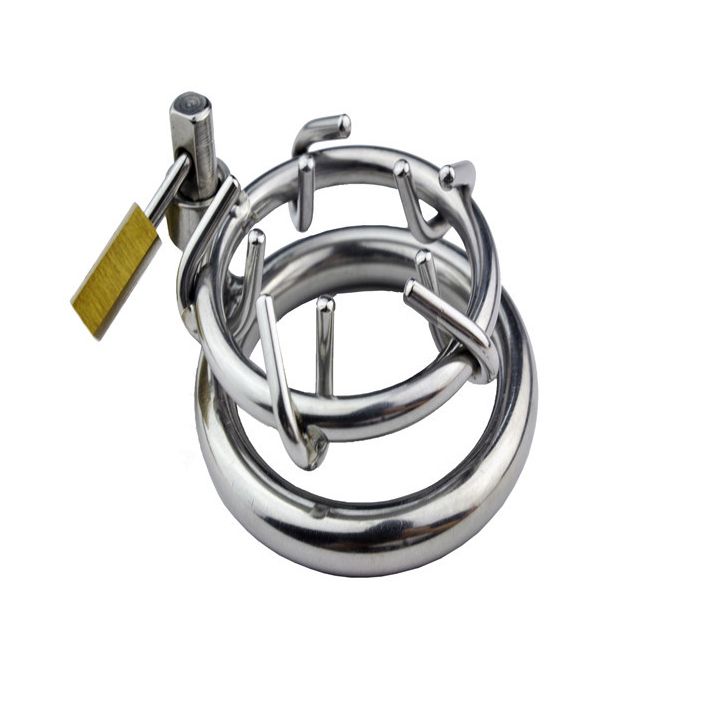 2017 Newest design thorns type stainless steel cock ring male chastity device sex toy metal penis bondage rings cockring for men wearable penis sleeve extender reusable condoms sex shop cockring penis ring cock ring adult sex toys for men for couple