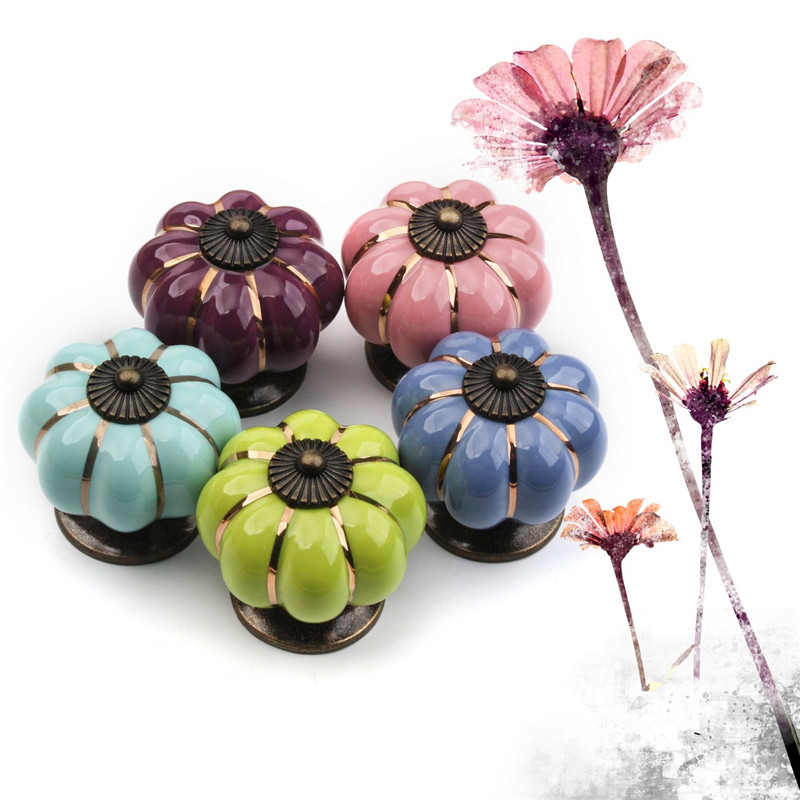 Rural 40mm Colorful Pumpkin Ceramic Knobs 5pcs SH Cupboard Cabinet Pulls Drawer Door Handles Furniture Hardware Accessories 1 pair 4 inch stainless steel door hinges wood doors cabinet drawer box interior hinge furniture hardware accessories m25