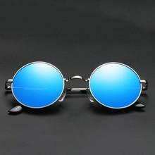 Aoron Brand Men Polarized Sunglasses Gothic Steampunk Coating Mirrored Round Circle Sun Glasses Retro UV400 Vintage Eyewear 2019