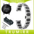 22mm cerâmica & pulseira de aço inoxidável liberação rápida para moto 360 2 46mm samsung gear 2 r380 r381 r382 faixa de relógio de pulso cinta