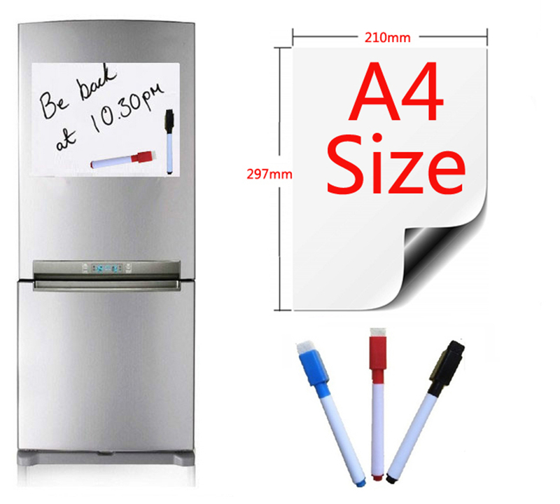Black Dry Wipe Pen Fridge Whiteboard Memo Notice Board with Self Adhesive Clip