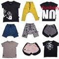 2017 лето kikikids nununu palm Всплеск мальчик девочка футболка ти топ короткие гарем брюки дети дети одежда набор платье младенческой