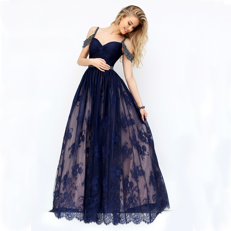 Red And White Lace Prom Dress: Charming Pink White Navy Blue Long Formal Lace Evening